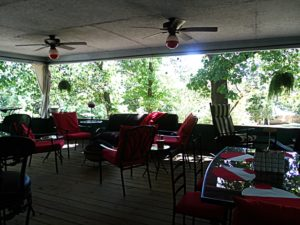 Out-door Great-room in Cute Little Cottage at Beaver Lake Vacation Cabin Rogers AR