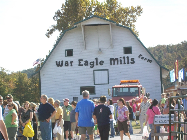 Headed into the West Side of War Eagle Craft Fairs called Sharp's Show of War Eagle