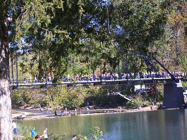 Over and under the War Eagle Bridge at Craft Fair